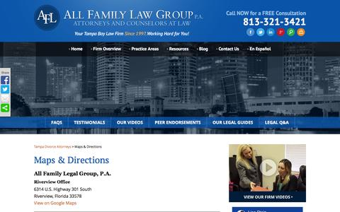 Screenshot of Maps & Directions Page familymaritallaw.com - Maps & Directions    All Family Law Group, P.A. - captured Feb. 5, 2016