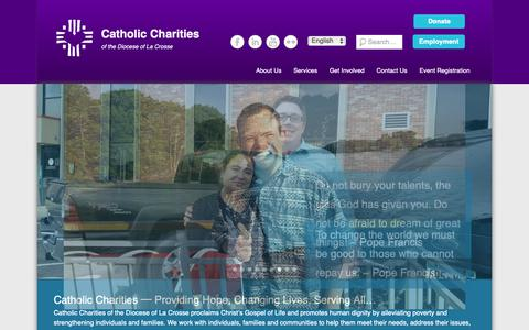 Screenshot of Home Page cclse.org - Catholic Charities | of the Diocese of La Crosse - captured Sept. 27, 2018