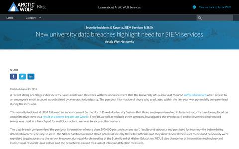 New university data breaches highlight need for SIEM services