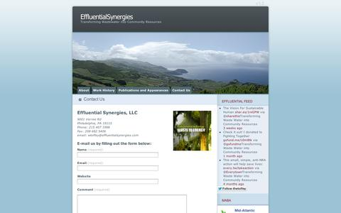 Screenshot of Contact Page wordpress.com - Contact Us   EffluentialSynergies - captured Sept. 12, 2014
