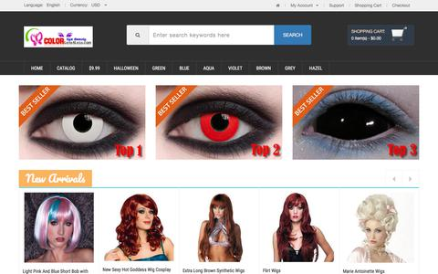 Screenshot of Home Page colorlens4less.com - Colored Contacts, Halloween Contacts,Color Contact Lenses and Crazy Contact Lense - captured Sept. 22, 2018