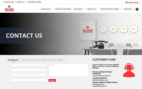 Screenshot of Contact Page polycab.com - Polycab Contact: Send Enquiry | Dealership Request | Register Complaint - captured June 11, 2019