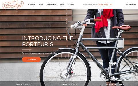 Screenshot of Home Page faradaybikes.com - Beautiful electric bikes | Faraday Bicycles - captured June 18, 2015