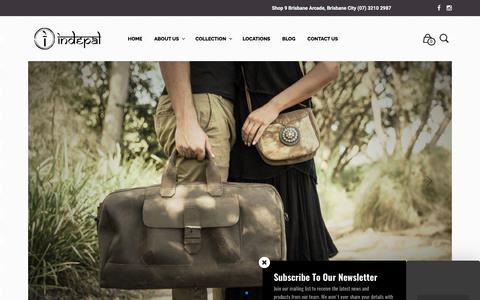 Screenshot of Home Page indepal.com.au - Indepal - Handmade Leather Bags. Brisbane Arcade & Brunswick Heads. - captured June 7, 2017