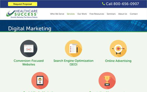 Screenshot of Services Page healthcaresuccess.com - Healthcare Digital Marketing Agency | Medical SEO, PPC & Social Media - captured March 1, 2018