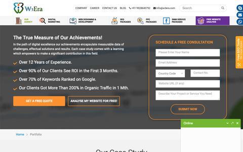 Screenshot of Case Studies Page w3era.com - Case Study - W3Era in USA - captured Oct. 18, 2018