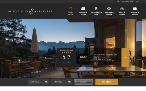 Screenshot of Press Page saratz.ch - Hotel Saratz: Newsroom - captured Nov. 9, 2016