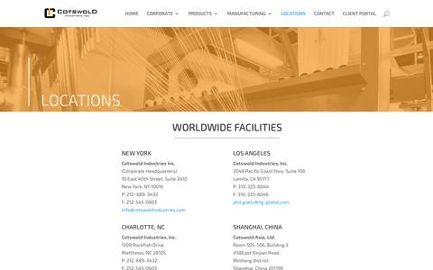 Screenshot of Locations Page cotswoldindustries.com - LOCATIONS | Cotswold Industries, Inc. - captured Sept. 29, 2018