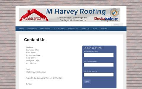 Screenshot of Contact Page mharveyroofing.com - Contact Us - captured Sept. 30, 2014