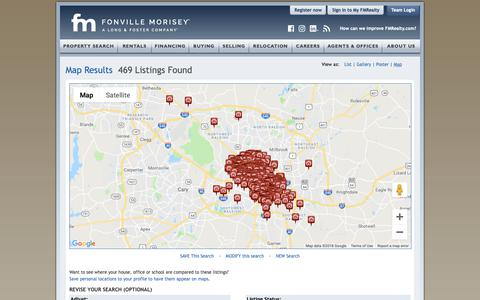 Screenshot of Maps & Directions Page fmrealty.com - Raleigh Durham Real Estate Interactive Map | Fonville Morisey Real Estate - captured Dec. 20, 2018