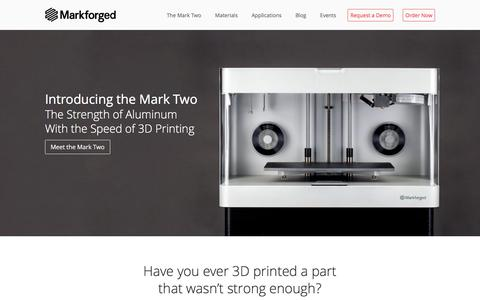 Screenshot of Home Page markforged.com - High Strength 3D Printing ― MarkForged - captured April 16, 2016