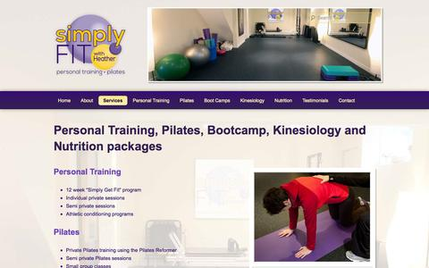 Screenshot of Services Page simplyfitwithheather.ca - Personal Training, Pilates, Bootcamp, Kinesiology and Nutrition packages | Simply FIT with Heather - captured Oct. 4, 2014