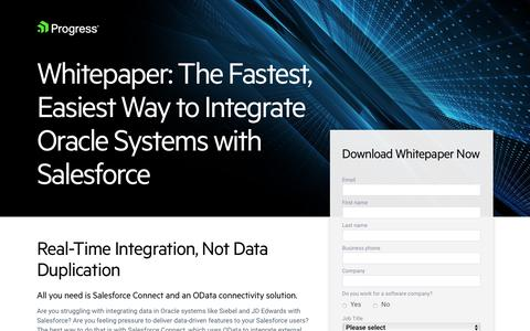 Screenshot of Landing Page progress.com - Whitepaper | Easiest Way to Integrate Oracle Systems with Salesforce - captured July 17, 2019