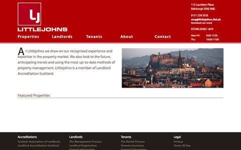 Screenshot of Home Page littlejohns.ltd.uk - Property Management Services   Littlejohns - captured Oct. 2, 2014