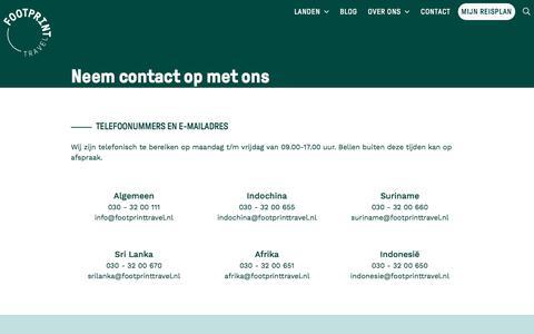 Screenshot of Contact Page footprinttravel.nl - Neem contact op met ons - Footprint Travel - captured July 3, 2019