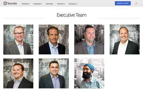 Screenshot of Team Page socrata.com - The Leadership Team behind Socrata's Open Data Solutions - captured Oct. 26, 2015