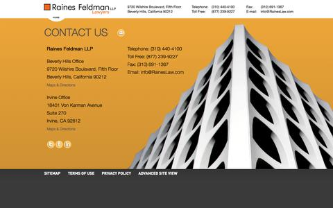 Screenshot of Contact Page raineslaw.com - Contact Us | Raines Feldman, LLP - Next Wave Business Counsel - captured Oct. 1, 2014