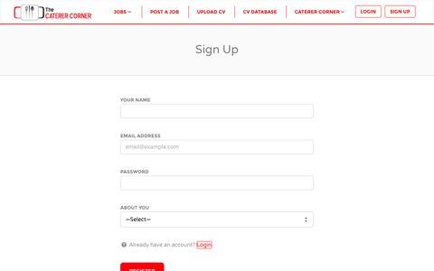 Screenshot of Signup Page caterercorner.com - Sign Up | Caterer Corner - captured Oct. 6, 2014