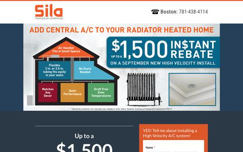 Screenshot of Landing Page sila.com - High Velocity Central Air Conditioning - Special Financing - captured Sept. 4, 2017