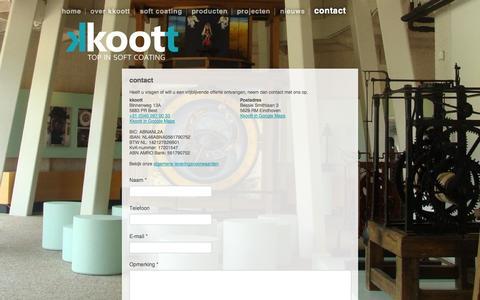 Screenshot of Contact Page kkoott.nl - contact | kkoott - top in soft coating - captured Oct. 6, 2014