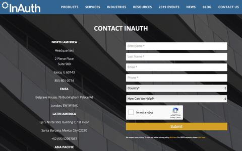 Screenshot of Contact Page inauth.com - Contact InAuth - InAuth - captured Aug. 15, 2019