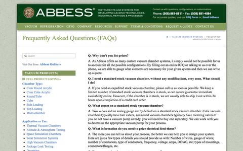 Screenshot of FAQ Page abbess.com - Frequently Asked Questions (FAQs) - Abbess Instruments - Vacuum Chambers - Pumps and Systems - Refrigeration and Cryogenics - captured April 10, 2017