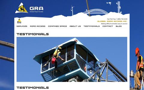 Screenshot of Testimonials Page globalropeaccess.com - Global Mountain Solutions - Rope Access :: Testimonials - captured Sept. 30, 2014