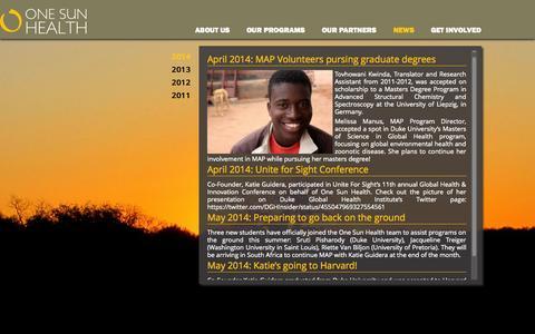 Screenshot of Press Page onesunhealth.org - News   One Sun Health - captured Oct. 9, 2014