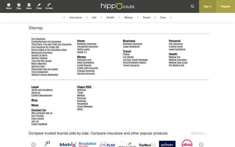 Screenshot of Site Map Page hippo.co.za - View All Our Site Pages in One Place | Sitemap | Hippo - captured Sept. 28, 2018