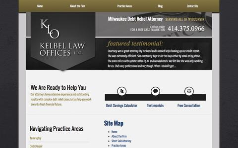 Screenshot of Site Map Page kelbellaw.com - Site Map | Kelbel Law Offices, LLC | Milwaukee Debt Relief Lawyer - captured Oct. 6, 2014