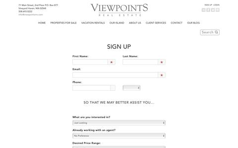 Screenshot of Signup Page viewpointsmv.com - Sign Up - captured Dec. 3, 2016