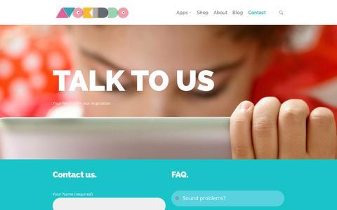 Screenshot of Contact Page avokiddo.com - contact |  Avokiddo | Fun educational apps for kids - captured Dec. 27, 2015