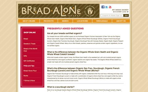 Screenshot of FAQ Page breadalone.com - Frequently Asked Questions | Bread Alone Bakery - captured Oct. 5, 2014