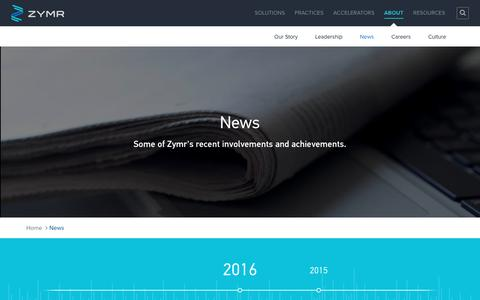 Screenshot of Press Page zymr.com - News - Zymr - captured Nov. 21, 2016