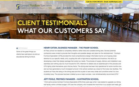 Screenshot of Testimonials Page cfspec.com - Contract Furniture Specialists Testimonials - educational dining furniture - captured Sept. 29, 2018