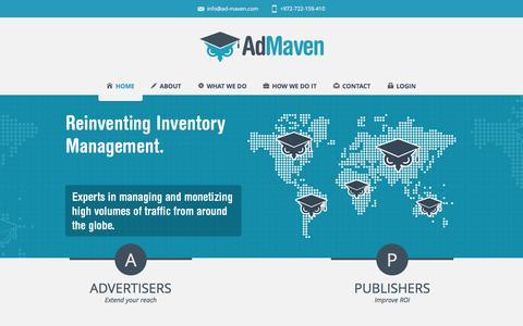 Screenshot of Home Page ad-maven.com - Welcome to AdMaven - captured Sept. 23, 2014