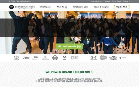 Screenshot of Home Page gpj.com - George P. Johnson – Global Event Marketing & Entertainment Marketing - captured April 13, 2018