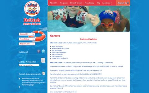 Screenshot of Jobs Page britishswimschool.com - British Swim School   Swim Lessons   Swim Instructors   British Swim School - captured Sept. 30, 2014