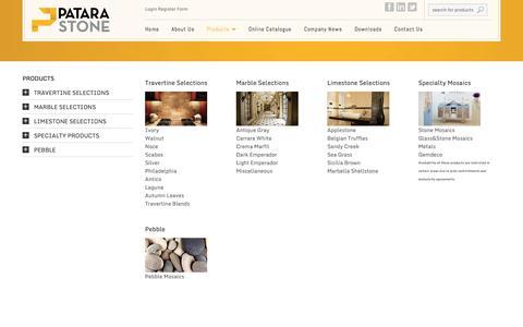 Screenshot of Products Page patarastone.com - Products     Patara Stone - captured Nov. 1, 2014
