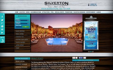 Screenshot of Privacy Page silvertoncasino.com - Silverton Casino Privacy Policy - captured Sept. 19, 2014