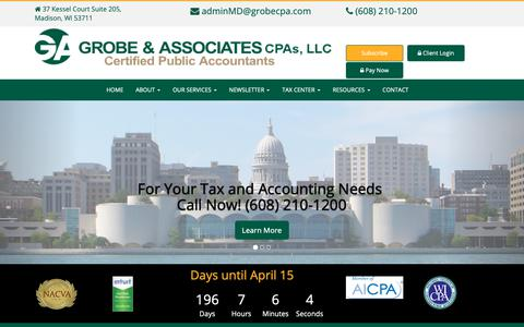 Screenshot of Home Page grobecpa.com - Certified Public Accountants Madison WI – Grobe and Associates - captured Sept. 30, 2018