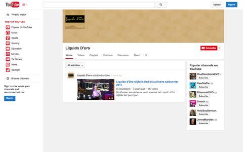 Screenshot of YouTube Page youtube.com - Liquido D'oro  - YouTube - captured Oct. 22, 2014