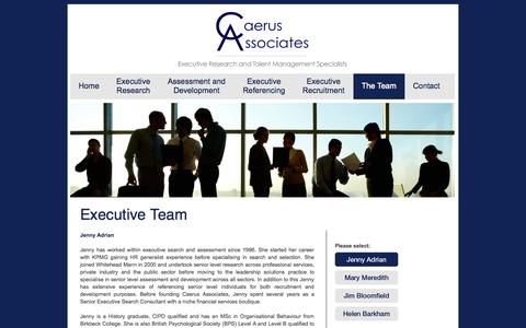 Screenshot of Team Page caerusassociates.co.uk - Caerus Associates - Executive Research and Talent Management – Jenny Adrian - captured Sept. 26, 2014