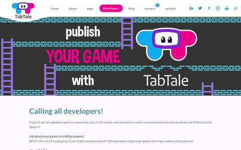 Screenshot of Developers Page tabtale.com - Developers | TabTale - captured July 13, 2018