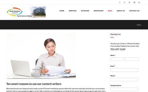 Screenshot of Blog publicity.com - Media Relations, Inc. Blog - captured Jan. 22, 2016