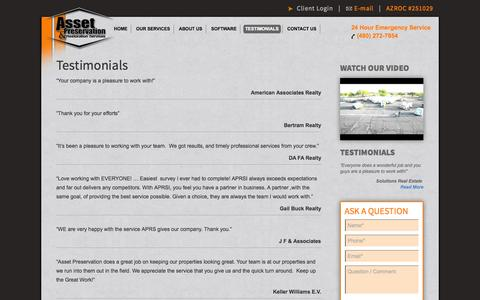 Screenshot of Testimonials Page aprsi.net - Testimonials | APRSI - captured Oct. 4, 2014