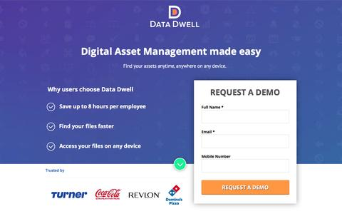Screenshot of Landing Page datadwell.com captured May 20, 2017
