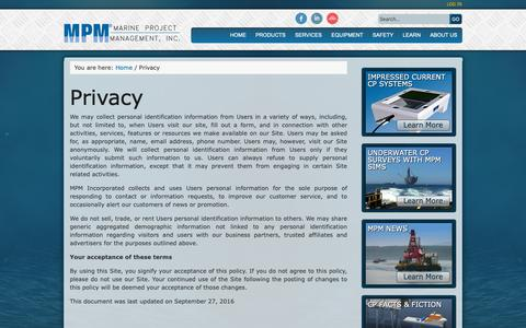Screenshot of Privacy Page mpmi.com - Privacy | Marine Project Management, Inc - captured Oct. 2, 2018