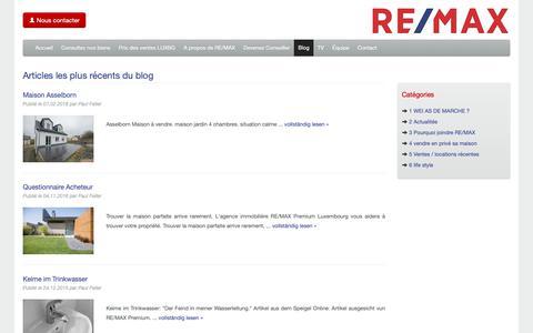 Screenshot of Blog remax-premium.lu - RE/MAX Premium Luxembourg - captured Oct. 20, 2018