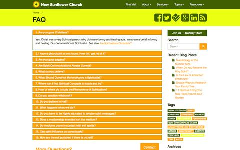 Screenshot of FAQ Page newsunflowerchurch.org - Frequently Asked Questions - Contemporary Spiritualists - New Sunflower Church - Indianapolis, Indiana 46227 - captured Oct. 9, 2014